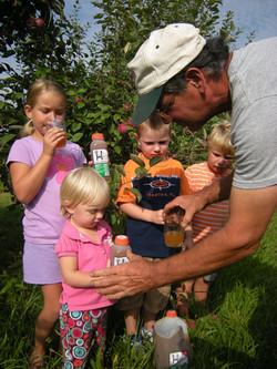 Kids tasting the cider