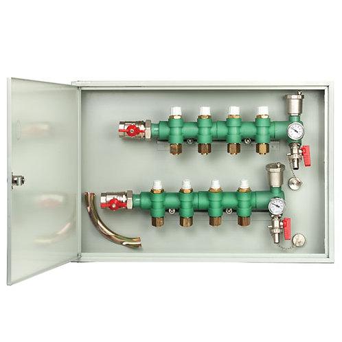 Colector piso radiante para 4 circuitos