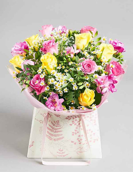 Pink and yellow rose aqua box with greenery