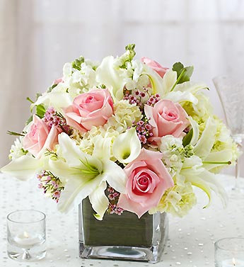 PINK ROSE AND OPEN LILLY TABLE DISPLAY