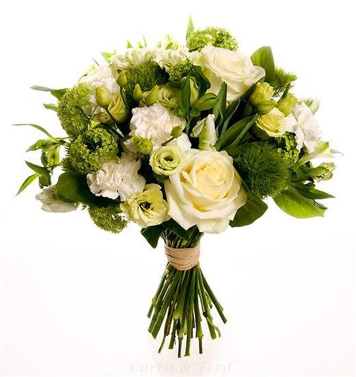 Cream & Green Hand Tied Bouquet