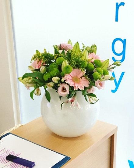 Lily, Gerbera, Lisianthus & Green Kermit Chrysanthemums