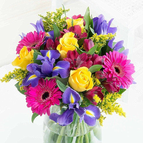 Iris, gerbera and rose bouquet