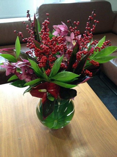 Alstroemeria & Red Berry Arrangement