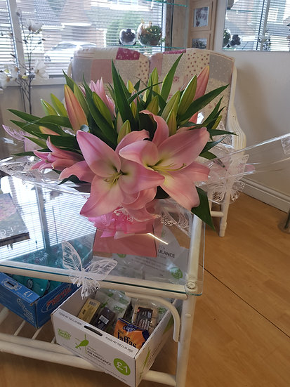 DELUXE OPEN AND CLOSED LILY IN A WATER FILLED BOX