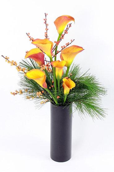 Calla Lily and Foliage Tall Vase