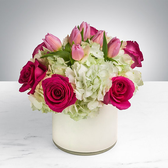Tulip, Hydrangea & Rose Arrangement