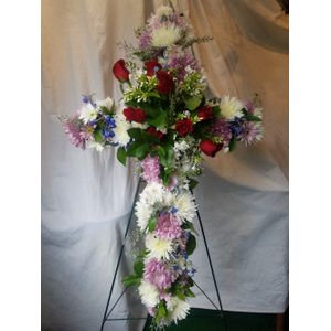 MIXED FLOWER CROSS