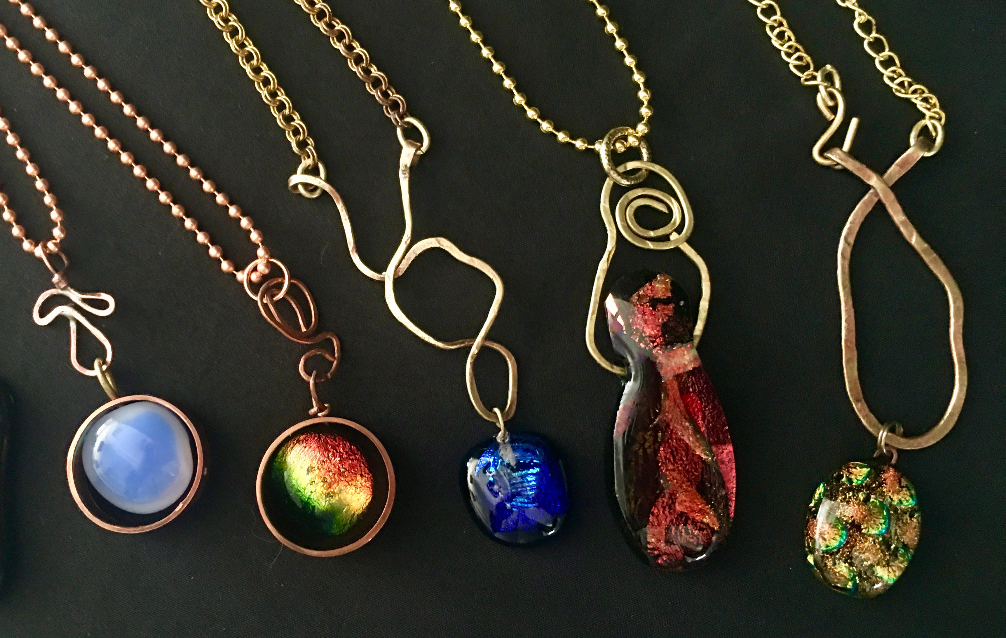 dichroic glass brass copper necklaces