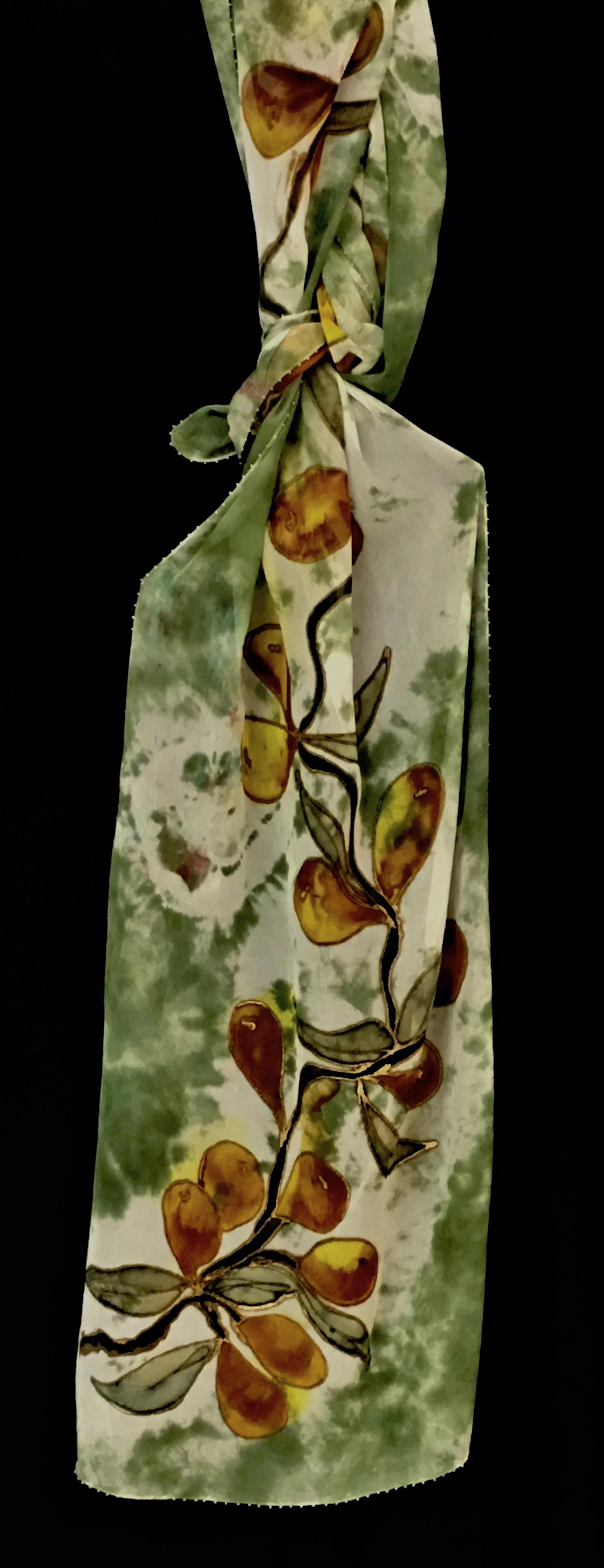 shibori wht_olive orange fruit gauze