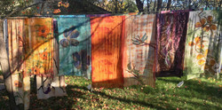scarves hanging in outdoors