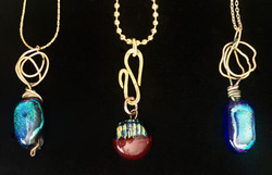 small necklaces dichroic glass & brass &