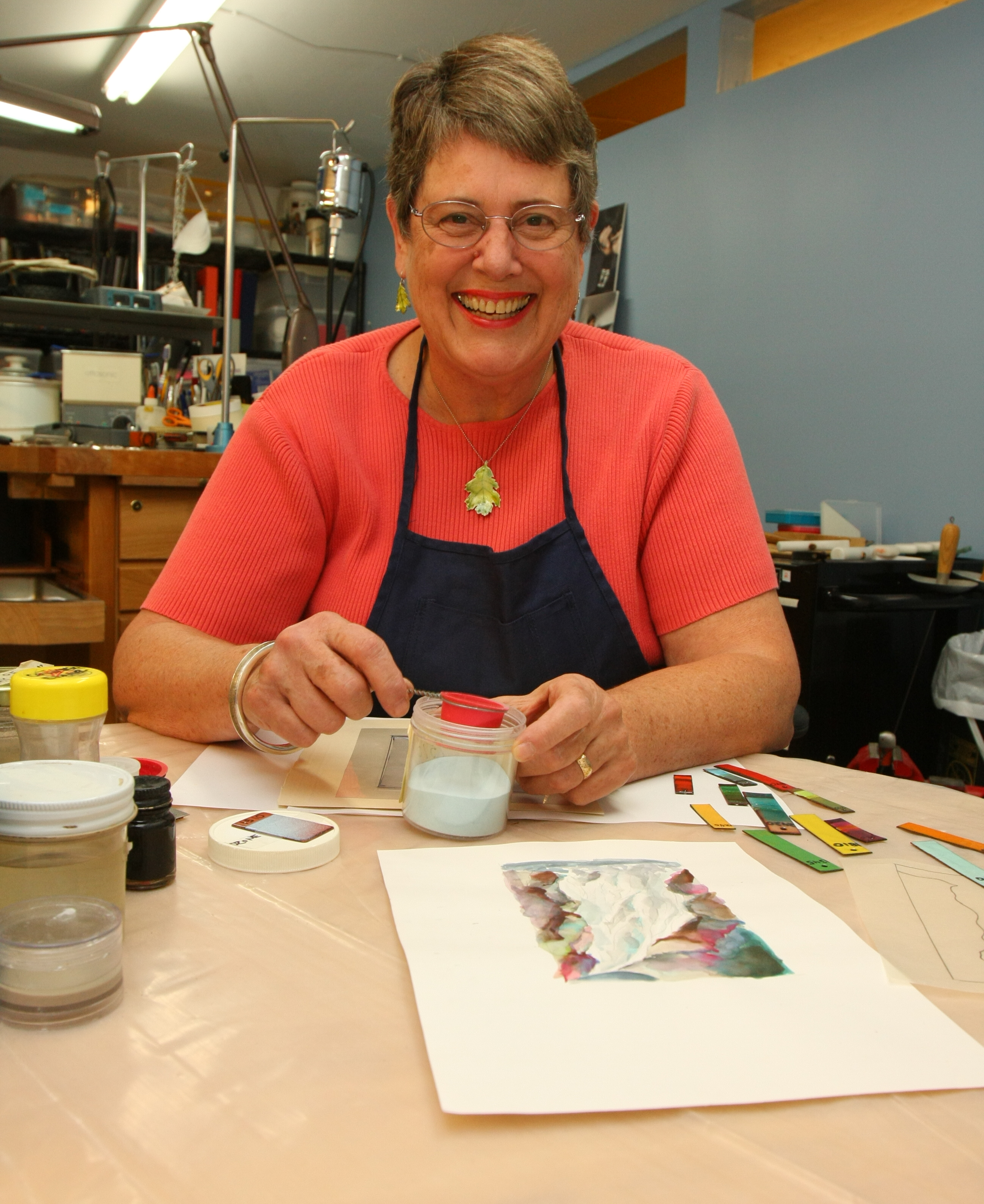 At work in her studio