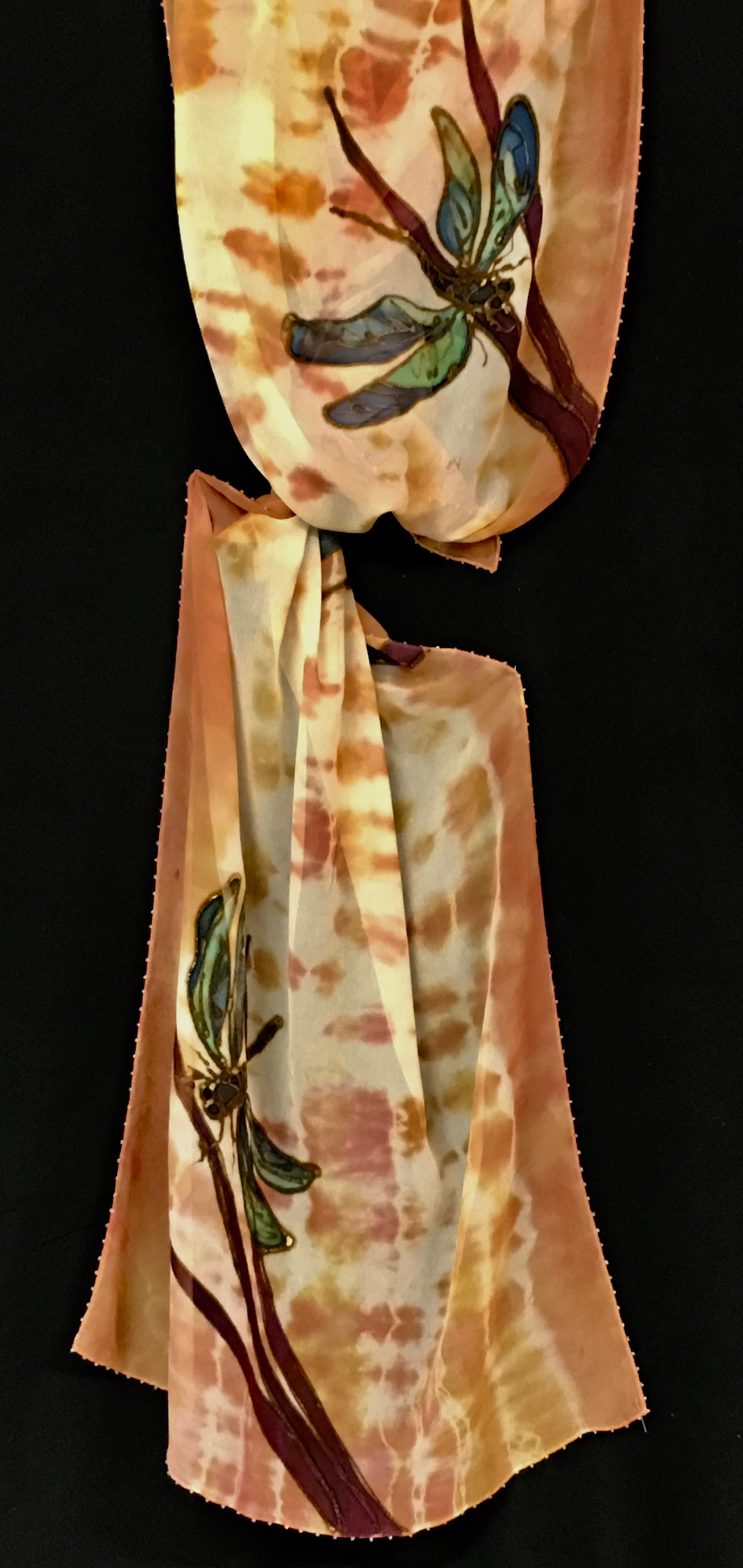 shibori copper white dragonfly tied scarf