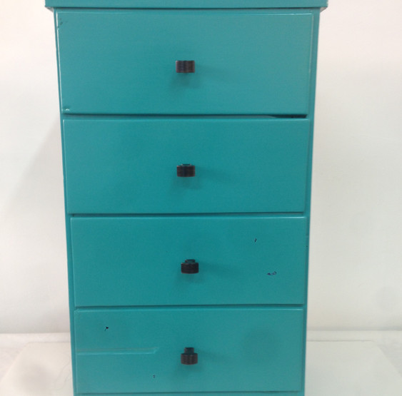 Antique Small Chest in Tropical Teal