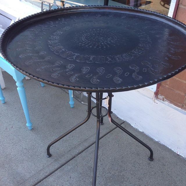 Antique Egyptian Copper Table in Rubbed Bronze