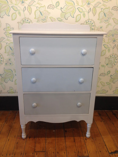 Antique dresser in Sidewalk Gray, Airwave, Lake Placid & Silent Night