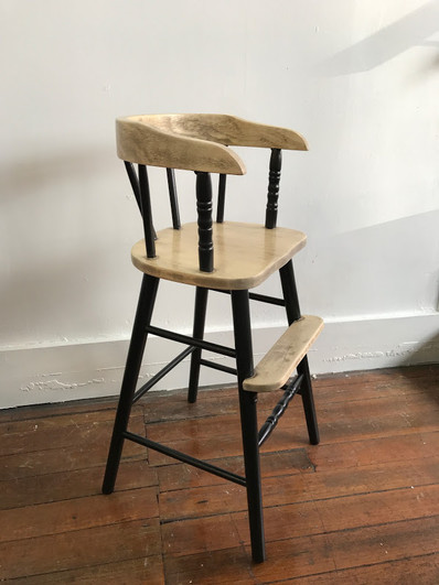 Toddler chair in distressed wood & Custom Black