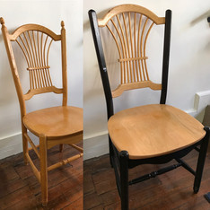 Dining room chair in natural wood and Custom Black
