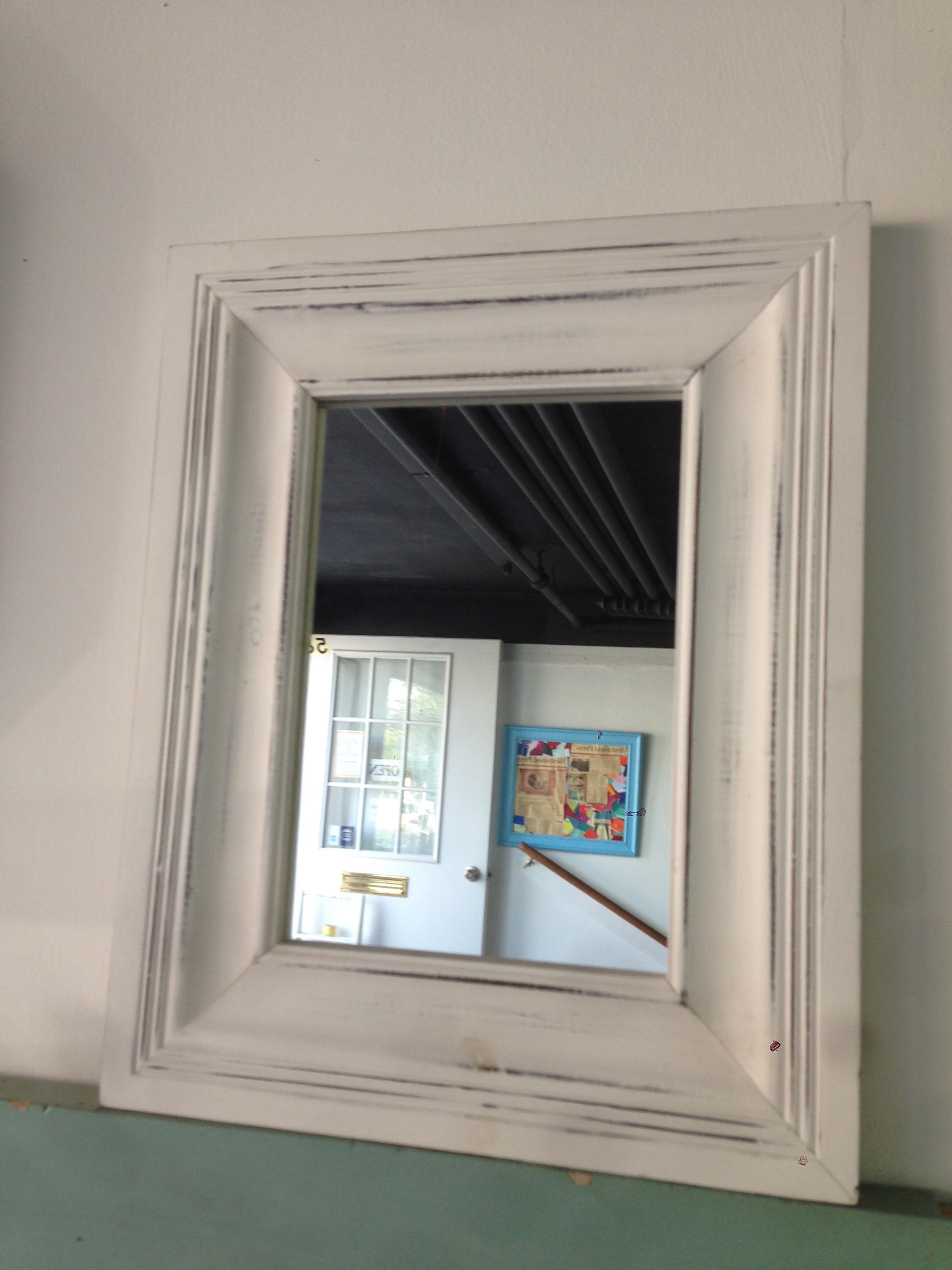 White distressed mirror
