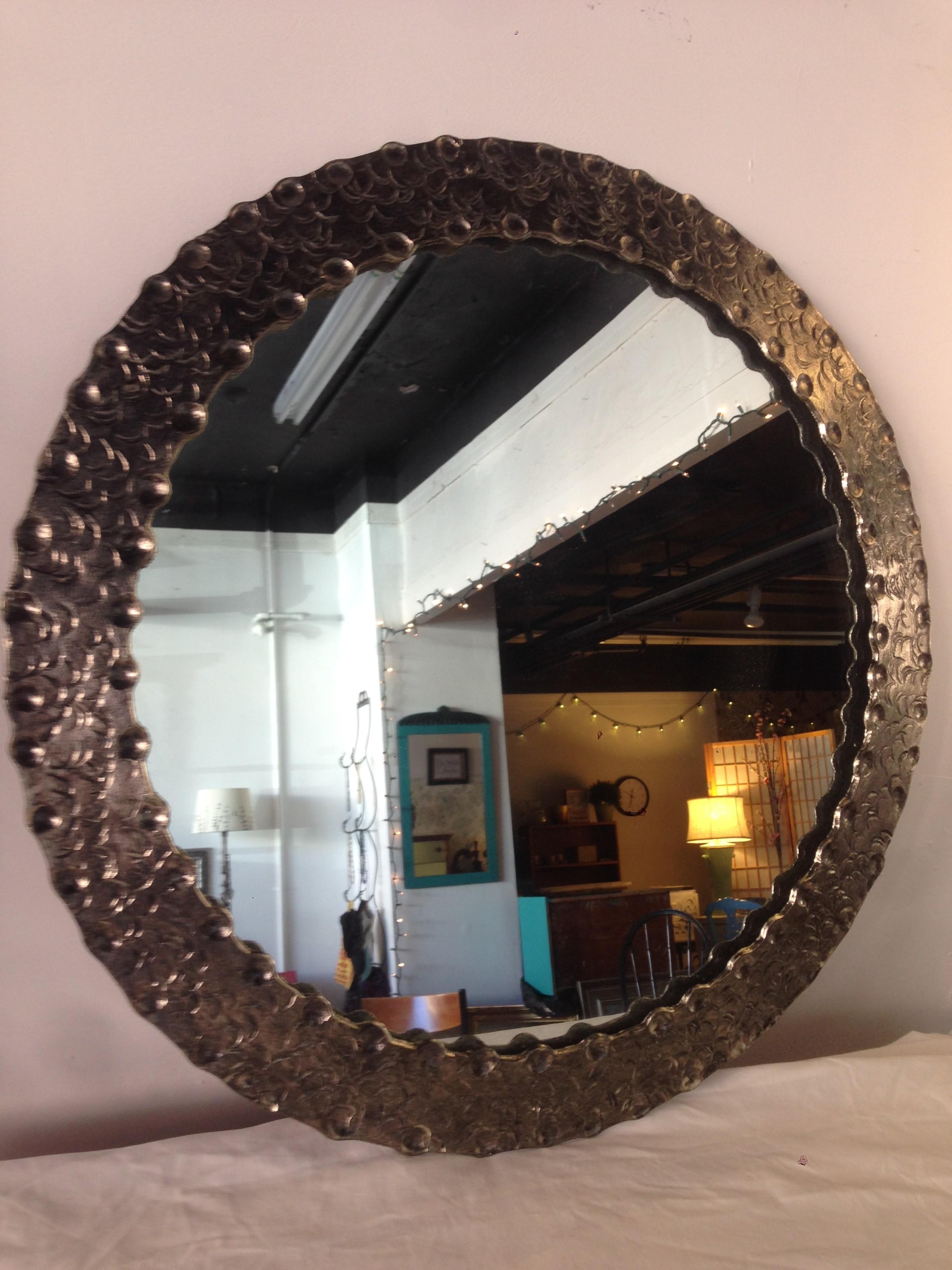 Hammered metal round mirror