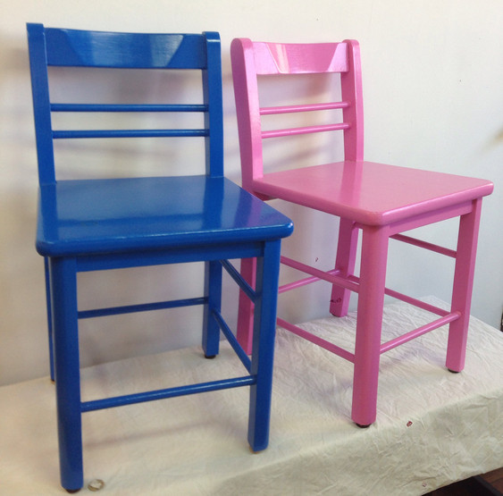 Boudoir Chairs in Big Country Blue & Spring Azalea