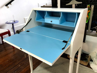 Antique desk in Chantilly Lace & Cayman Blue