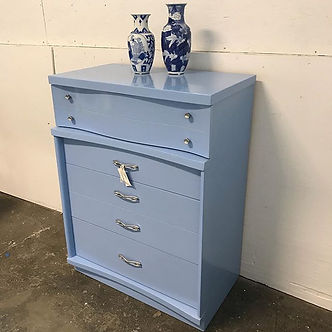 Midcentury dresser in Aqua Marina with o