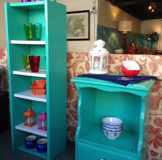 Primitive Shelves & Vintage Nightstand in Capri Seas & Super White