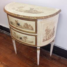 Demilune cabinet restored to original paint