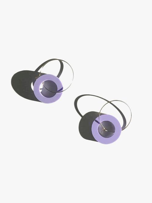 Purple Valley, Lilac Disc Hoop Earrings