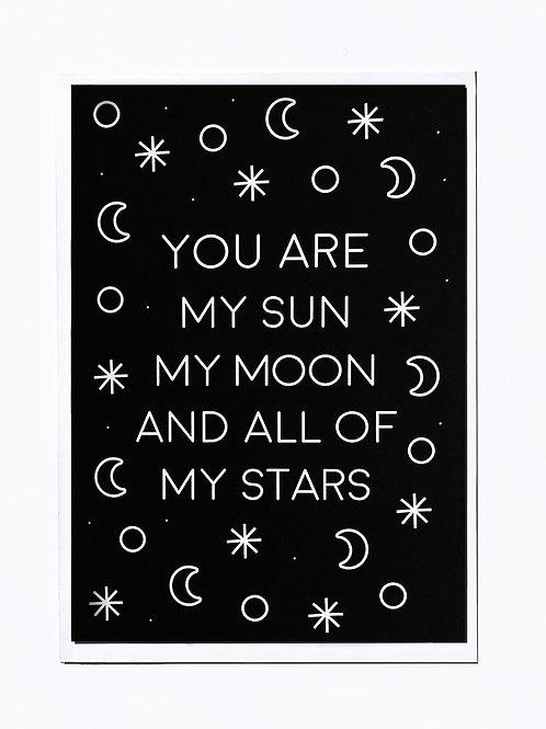 Purple Valley, Sun, Moon & Stars Greeting Card