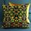 Thumbnail: Art Deco Velvet Cushion with Gold Fabric, 50cm x 50cm