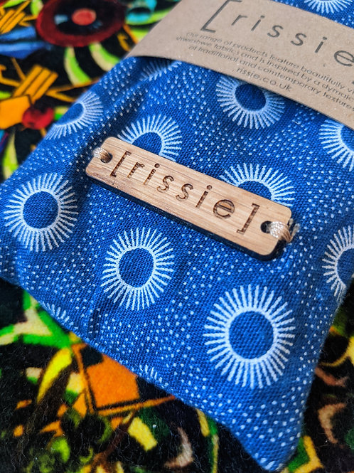 Rissie Glasses Case, Blue Pattern with Yellow