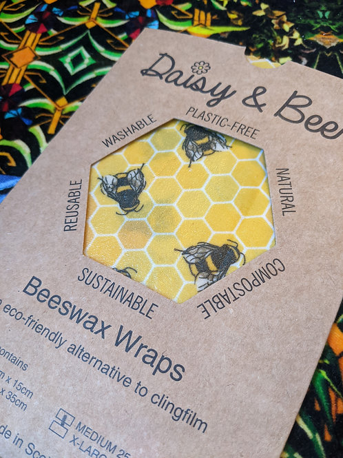 Daisy & Bee, Plastic Free Eco-Friendly Food Wrap Trio, Bee Design