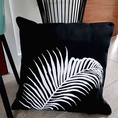 Cascayde Black Fern Print Cushion Cover, 45x45cm