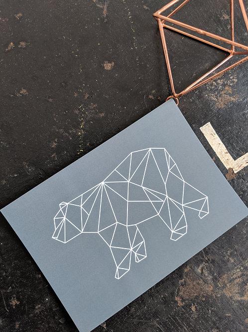 Jessica Cora Creative Geometric Bear Postcard Print