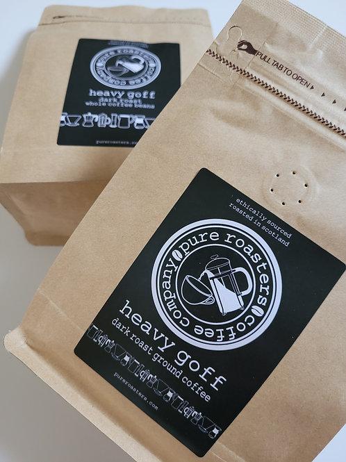 Pure Roasters, Heavy Goff, Dark Roast Coffee, 250g Beans, Ground
