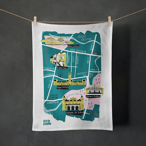 Nebo Peklo, Glasgow West End Map Tea Towel