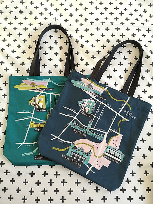 Nebo Peklo, Glasgow West End Map Tote Bag