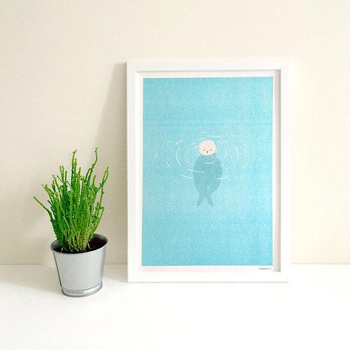 Tom Hardwick Seal Risograph Print, A4