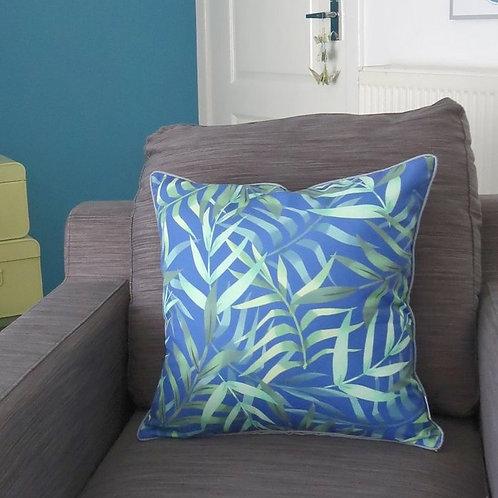 Cascayde Blue Leaf Print Cushion Cover, 45cmx45cm