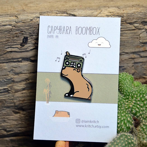 Richard Young, Capybara Boombox Enamel Pin