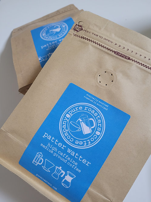 Pure Roasters, Patter Watter, High Caffeine Coffee, 250g Beans, Ground