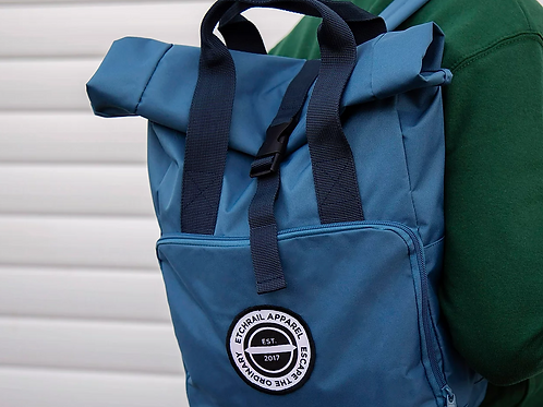 Etchrail Small Airforce Blue Roll Top Backpack