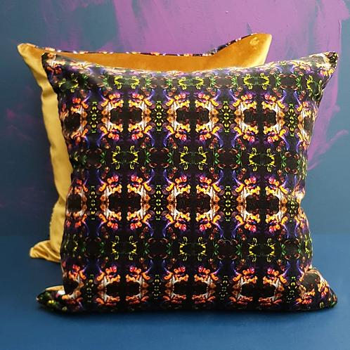 Art Deco Velvet Cushion, Purple & Gold, 50cm x 50cm