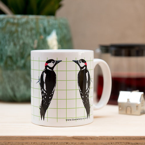 The Owlery Prints, Woodpecker Mug