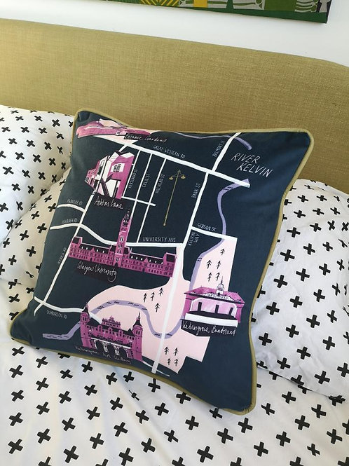 Nebo Peklo, Glasgow West End Map Velvet Cushion