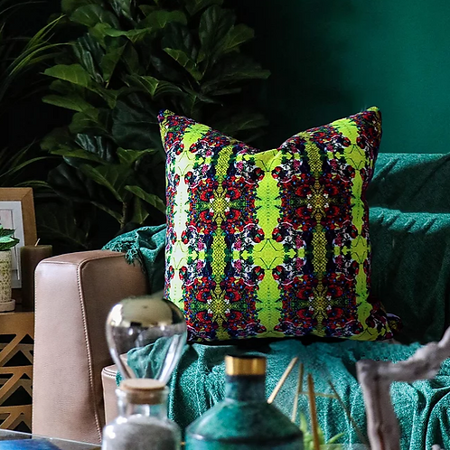 Art Deco Velvet Cushion, Canary Green, 50cm x 50cm