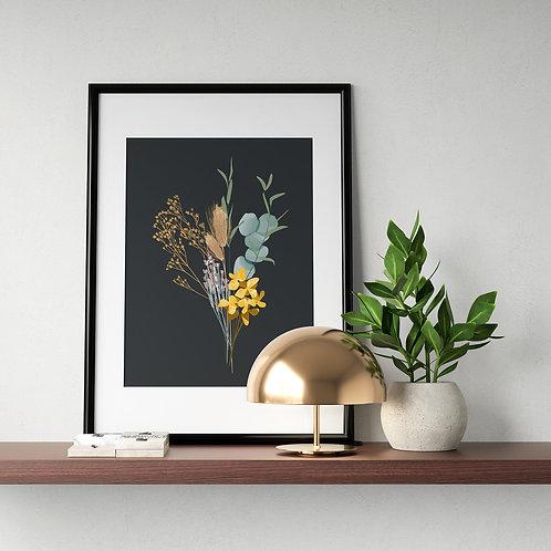 Nebo Peklo Dried Flower Bouquet Giclee Art Print, A3, A4
